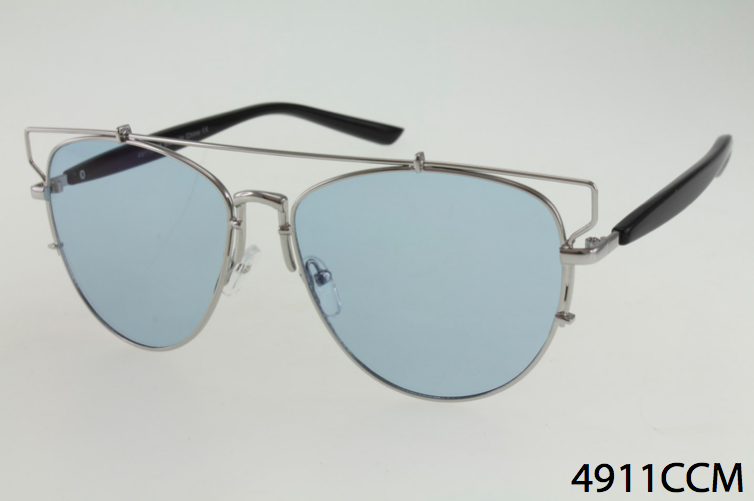 Wholesale Metal Wire Frame Sunglasses With Unique Brow Bar and Color ...